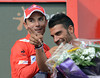 Joachim Rodriguez has a laugh with ex-teamate Oscar Pereiro on the podium - 'Purito' is still the race-leader..!