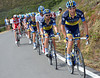 Bruno Pires leads the chase for Saxo Bank who have also lost four of their riders...
