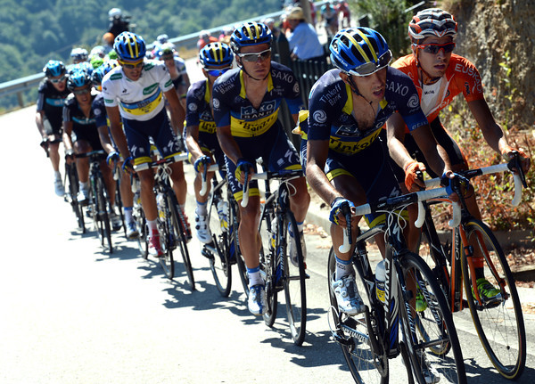 Saxo Bank and Euskatel are chasing hard, killing Clarke's plans, and shredding the peloton in the process...