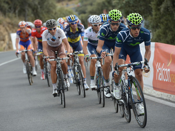 Jonathan Castroviejo leads a Movistar attack up some short hills with 15-kilometres to go...