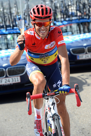 Cheers - Alberto Contador gets to taste some chilled Cava..!