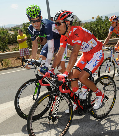 Joachim Rodriguez is in serious discussion with Imanol Erviti, a faller in yesterday's crash with Valverde