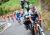 Alejandro Valverde attacks at the foot of the final climb, creating a move that will absorb Meyer before the finish...