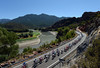 The peloton is stretched out alongside a scenic reserve in Catalonia