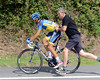 Alberto Contador makes a quick bike-change thanks to his Saxo Bank mechanic, Faustino...