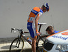 Robert Gesink makes a wheel change - he too must be at his best for the TT...