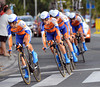 Rabobank started early and led for most of the stage - only to end 2nd, 10-seconds down..!