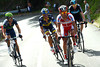 Joachim Rodriguez, Alejandro Valverde and Alberto Contador have Chris Froome behind them as the climbs rears up...