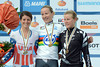 Judith Arndt celebrates another Gold medal with runner-up Evelyn Stevens and Linda Villumsen