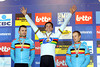 Niels Albert shares his podium with fellow Belgians, Rob Peeters and Kevin Pauwels