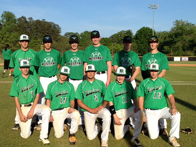 Past Dilworth Little League Players now on Myers Park High School JV and Varsity teams. L-R top: Charles Snover, Drew Grayson, Blaine Sanders, John Beaver, Ross Groome, Ross Hobson  L-R bottom: Evan Todd, Tommy Wayne, Bo Owens, Neil Sidlovsky, Nick Halmrast