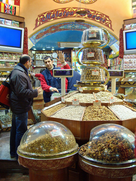 Grand Bazaar visit, where we had some time for independent shopping. But first, we visited this shop belonging to Mr Ahmet Malatya. He took us upstairs and brought all kinds of goodies to taste with tea. The Turkish dried fruits and nuts are so good, much better than at home.