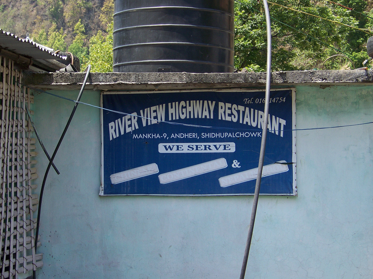 0661 - Sign for the River View Restaurant overlooking the Bhote Koshi River - Andheri Shidhupalchowk Nepal.JPG