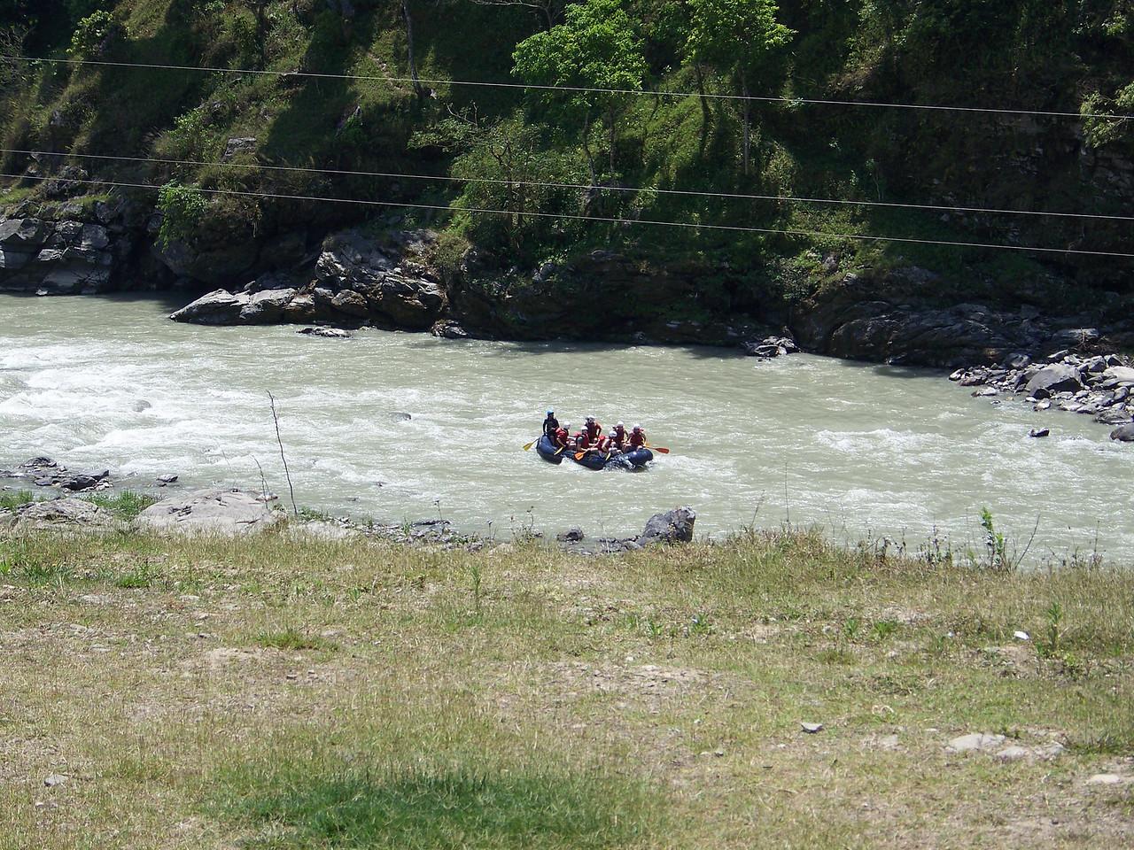 0657 - Rafters on the Bhote Koshi River next to the River View Restaurant - Andheri Shidhupalchowk Nepal.JPG