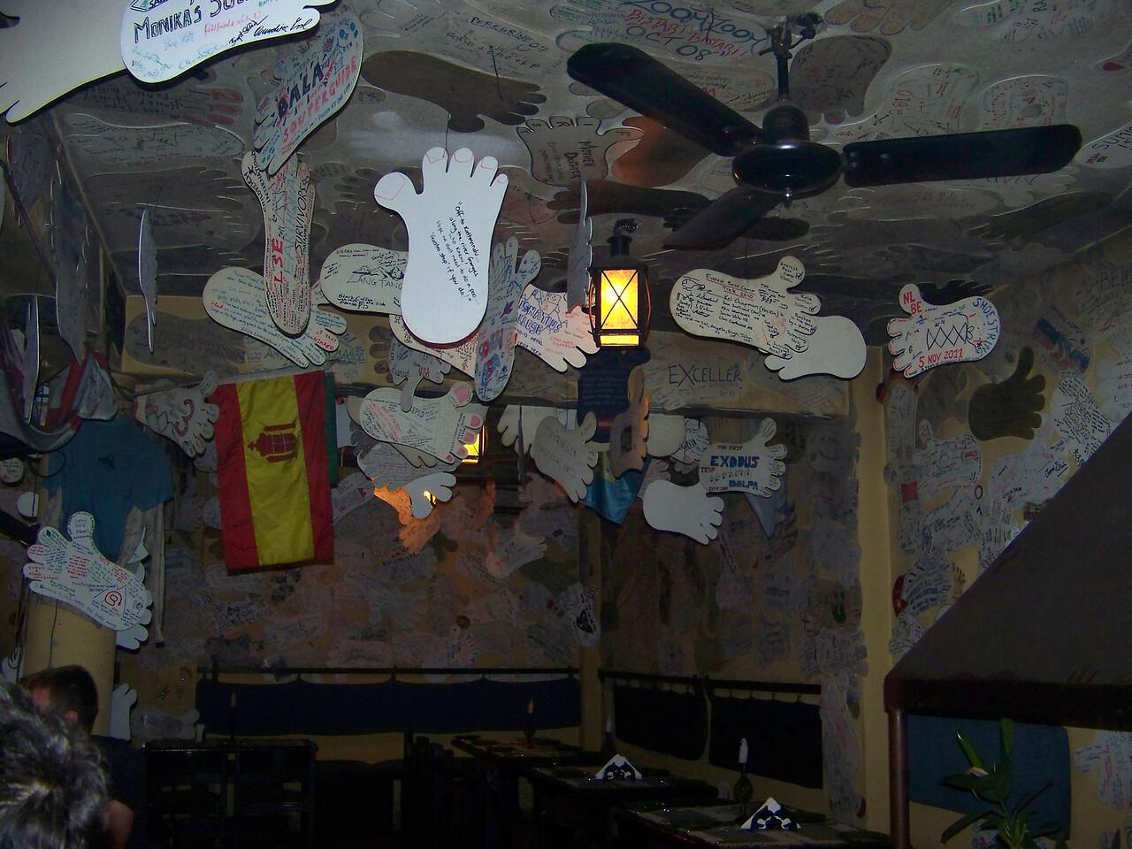 0673 - Inside Walls and Ceiling of Rum Doodle Restaurant - Katmandu Nepal.JPG