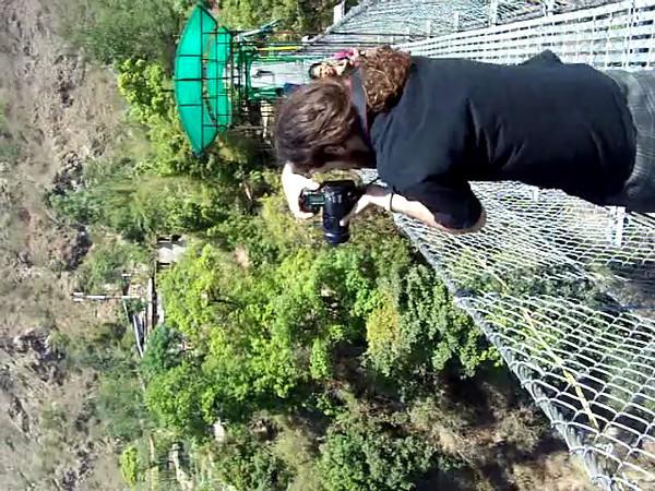 0642 - Canyon and River below Bungy Bridge along Araniko Highway in Nepal Between Kodari and Katmandu - Nepal .MOV