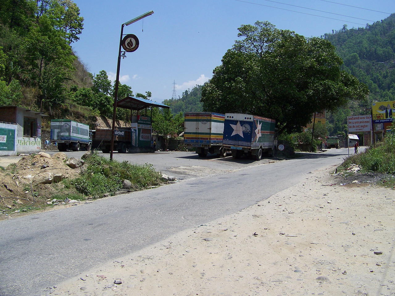 0659 - Road and Businesses across the road from the River View Restaurant overlooking the Bhote Koshi River - Andheri Shidhupalchowk Nepal.JPG