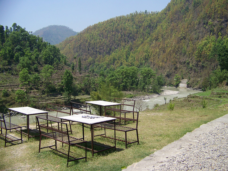 0656 - Tables at River Veiw Restaurant overlooking the Bhote Koshi River - Andheri Shidhupalchowk Nepal.JPG