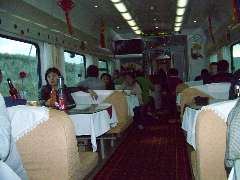 0090 - Dining Car on Train Trip Between Beijing and Lhasa.JPG