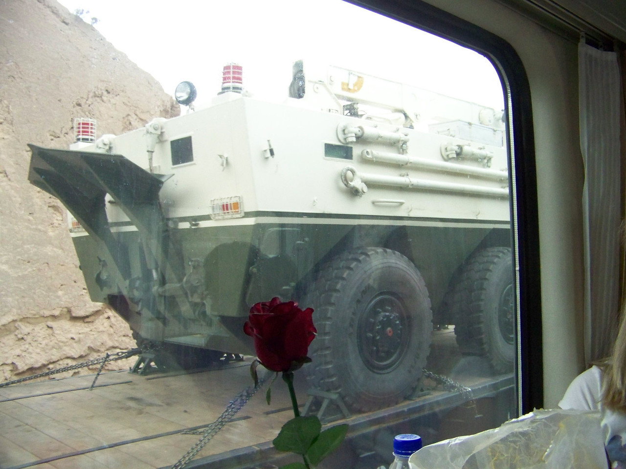 0086 - Military Vehicle on Opposite Train Track on Train Trip Between Beijing and Lhasa.JPG