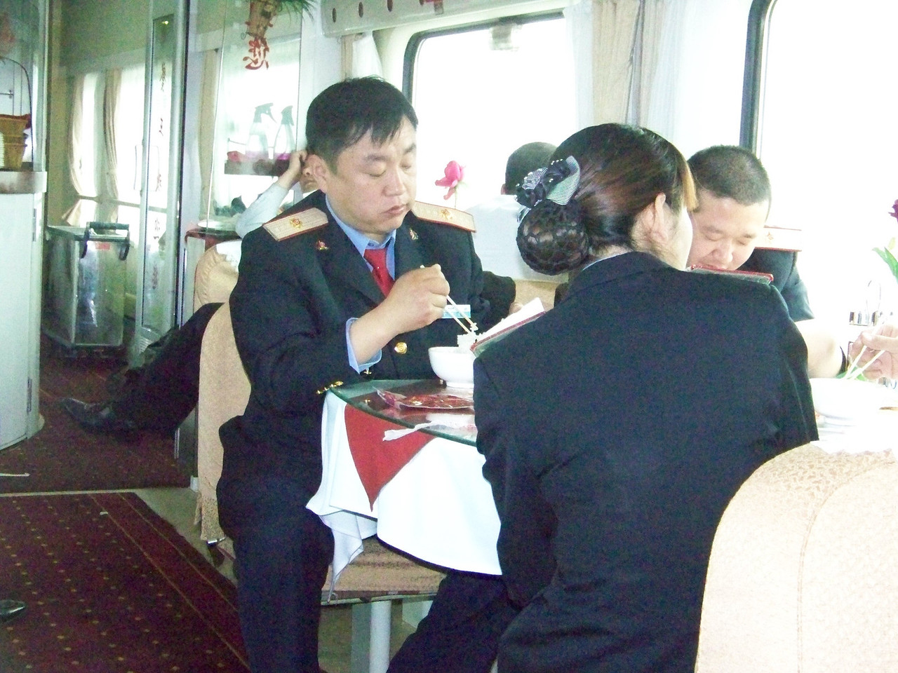 0084 - Train Staff in Dining Car on Train Trip Between Beijing and Lhasa.JPG