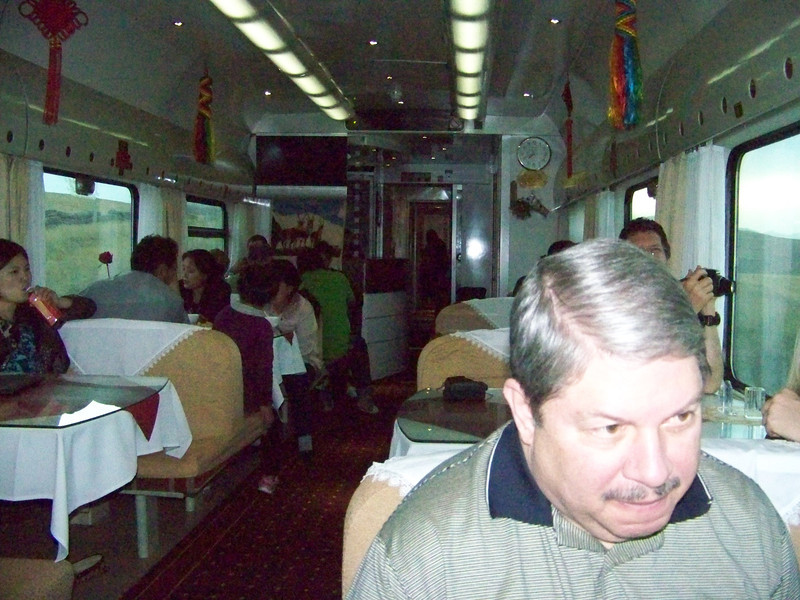 0089 - Arnold in Dining Car on Train Trip Between Beijing and Lhasa.JPG