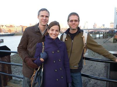 Walking along the Thames River in London, UK.
