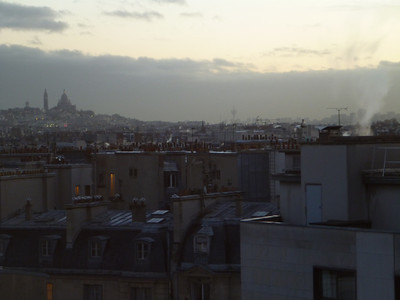 View of the Basilique du Sacre-Coeur at dawn from the Le Meridien Etoile Hotel in Paris, France.