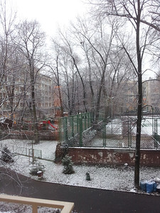 Winter view from the appartment window in Warsaw, Poland.