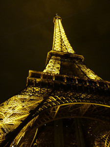 The Eiffel Tower at night in Paris, France.