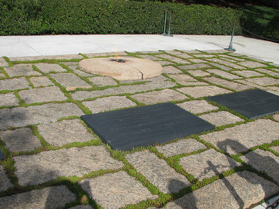 "JFK's eternal Flame. Only 2 presidents are buried at Arlington. A few months before he was shot, JFK & Jackie visited. He surveyed the grounds, sighed and declared ""I could just stay here forever."" Jackie remembered this and had him laid to rest here."