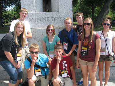 The Dist 7'ers being kind of thinky at the WWII memorial: (from top) Cole, Angela, Grace, Nathan, Jon, MacKenzie, Elen, Carter and Ethan