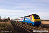 "121208-015     UK Railtours ""The Lincoln Christmas Market 125 Special"" powered by East Midlands Trains HST powercars 43081 leading, & 43043 at the rear. Captured on a glorious sunny winter's morning at Rolleston near Newark."