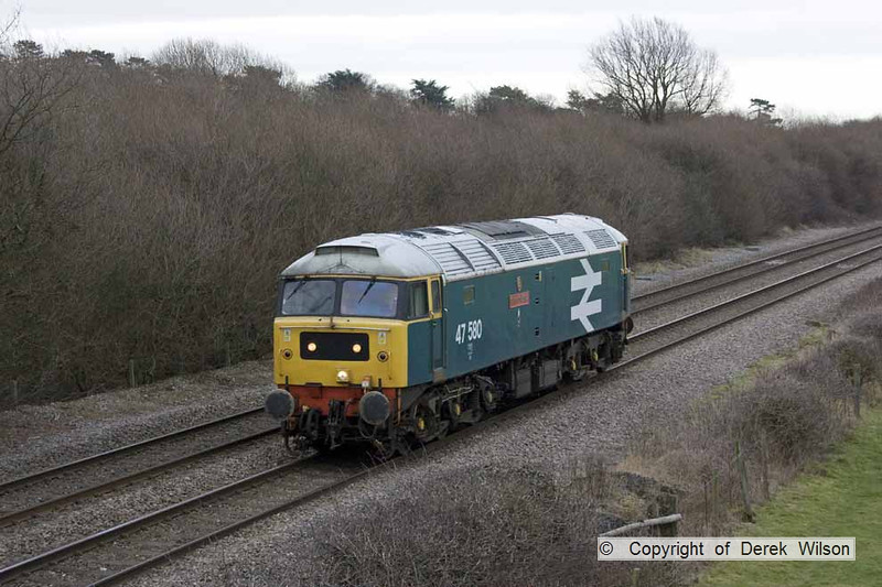 120220-010      The Stratford 47 Group's class 47 no. 47580 County of Essex, captured passing Barrow upon Trent running 'light engine' as, 0Z47 Wymondham - Carnforth.