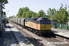 120525-003     Colas RailFreight class 47 no. 47739 Robin of Templecombe passes through Bingham with train 6E07, 11.51 Washwood Heath - Boston docks, empty coverd steel carrying wagons. Class 56 no. 56094 had powered the train as far as Nottingham, where it was detached & returned light engine to Washwood Heath. 56094 is expected to work the train Twice next week, but will it make it all the way to Boston?