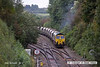 121002-004     Freightliner class 66/5 no. 66530 is seen leaving the 'freight only' line from Ironville junction - Kirkby Lane End Junction & has just restarted it's train after being held for the unit in the previuos image. It was captured powering train 4W59, 08.31 Ratcliffe power station - Thoresby colliery, empty coal hoppers.