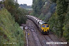 121002-006     Freightliner class 66/5 no. 66530 is seen leaving the 'freight only' line from Ironville junction - Kirkby Lane End Junction & has just restarted it's train after being held for the unit in the previuos image. It was captured powering train 4W59, 08.31 Ratcliffe power station - Thoresby colliery, empty coal hoppers.