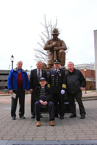 Front sitting is Retired Chief Ed Burrell, left to right Retired Chief James Hallisey, Retired Chief Ken Galligan, Chief Francis, retired Deputy Chief Cobb