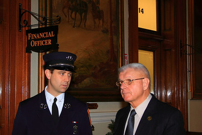 Capt. Kevin Galligan with his father, Retired Chief of Department Ken Galligan