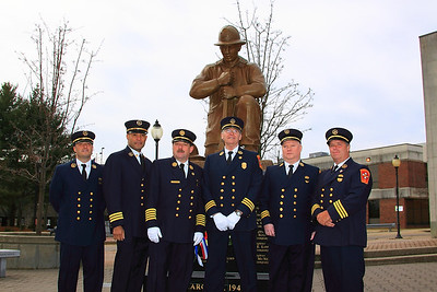 Deputy Chief Brian Nardelli of Training Division, Deputy Chief Mark Baker Group 3, Chief of Department Richard Francis, Deputy Chief George Phillips Group 1, Deputy Chief Tim Murphy Group 4, Deputy Chief Gerry Kenney Fire Prevention Division