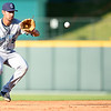 Shane Roper/MiLB<br /> <br /> July 26, 2015 - Corpus Christi Hooks shortstop Jiovanni Mier (5) fields a ground ball in the game against Frisco Roughriders at Dr. Pepper Ballpark in Frisco, Texas.