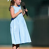 Shane Roper/MiLB<br /> <br /> July 26, 2015 - 7 year old Samantha Herrmann sings the National Anthem prior to the start of the game at Dr. Pepper Stadium July 26, 2015 at Dr. Pepper Ballpark in Frisco, Texas.