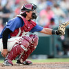 Shane Roper/MiLB<br /> <br /> July 26, 2015 - Frisco RoughRiders catcher Alex Burg (21) during the game between Corpus Christi Hooks vs Frisco Roughriders at Dr. Pepper Ballpark in Frisco, Texas.