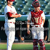 Frisco RoughRiders pitcher Connor Sadzeck (19) Frisco RoughRiders catcher Patrick Cantwell (3)