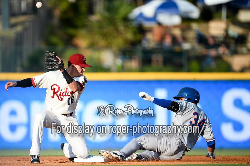 Frisco RoughRiders second baseman Drew Robinson (16)Midland RockHounds third baseman Renato Nunez (34)