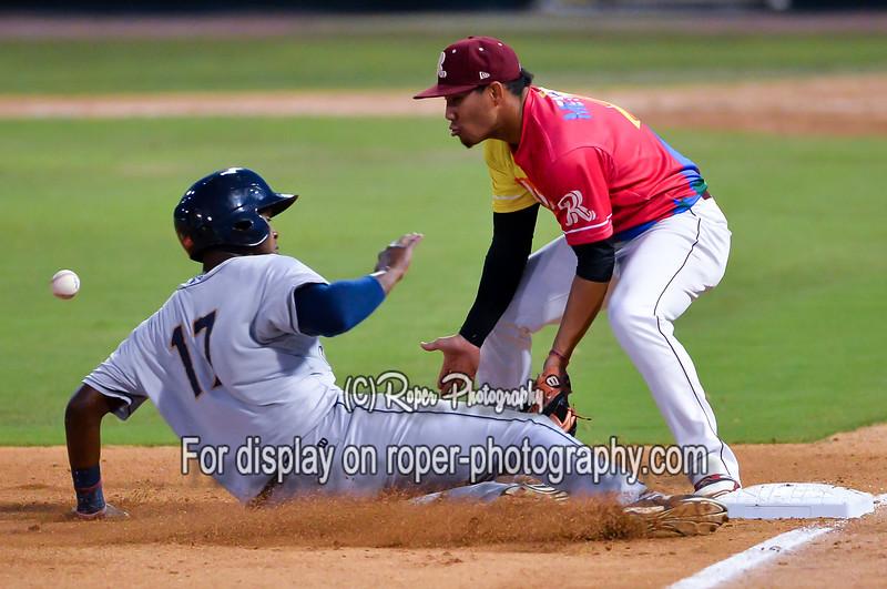 San Antonio Missions first baseman Duanel Jones (17) Frisco RoughRiders third baseman Luis Mendez (2)