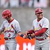 Springfield Cardinals shortstop Joey Hawkins (3),Springfield Cardinals hitting coach Ramon Ortiz (35)