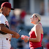 Frisco RoughRiders first baseman Ronald Guzman (31) signs a baseball after the 1st pitch