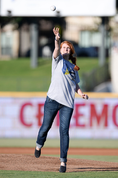 July 21, 2016  The daughter of the Dallas Dart Officer killed in the Dallas police shooting throws out the first pitch of the San Antonio Missions vs Frisco Roughriders at Dr. Pepper Ballpark in Frisco, Texas. (Shane Roper/MiLB)
