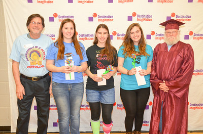 2014 NH Destination Imagination Scholarship winners flanked by (left) Destination Imagination CEO Dr. CHuck Cadle and (rught) Harvey Black of NH-DI. Winners include (left to right) Mariah Maki of Jaffrey, Noam Eshed of Bedford and Jessica Dalrymple of Bedford